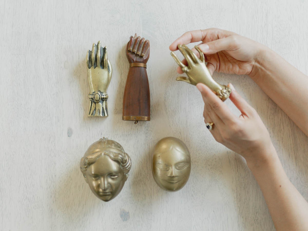 Assorted vintage objects, mostly brass, from Otherwise Shoppe
