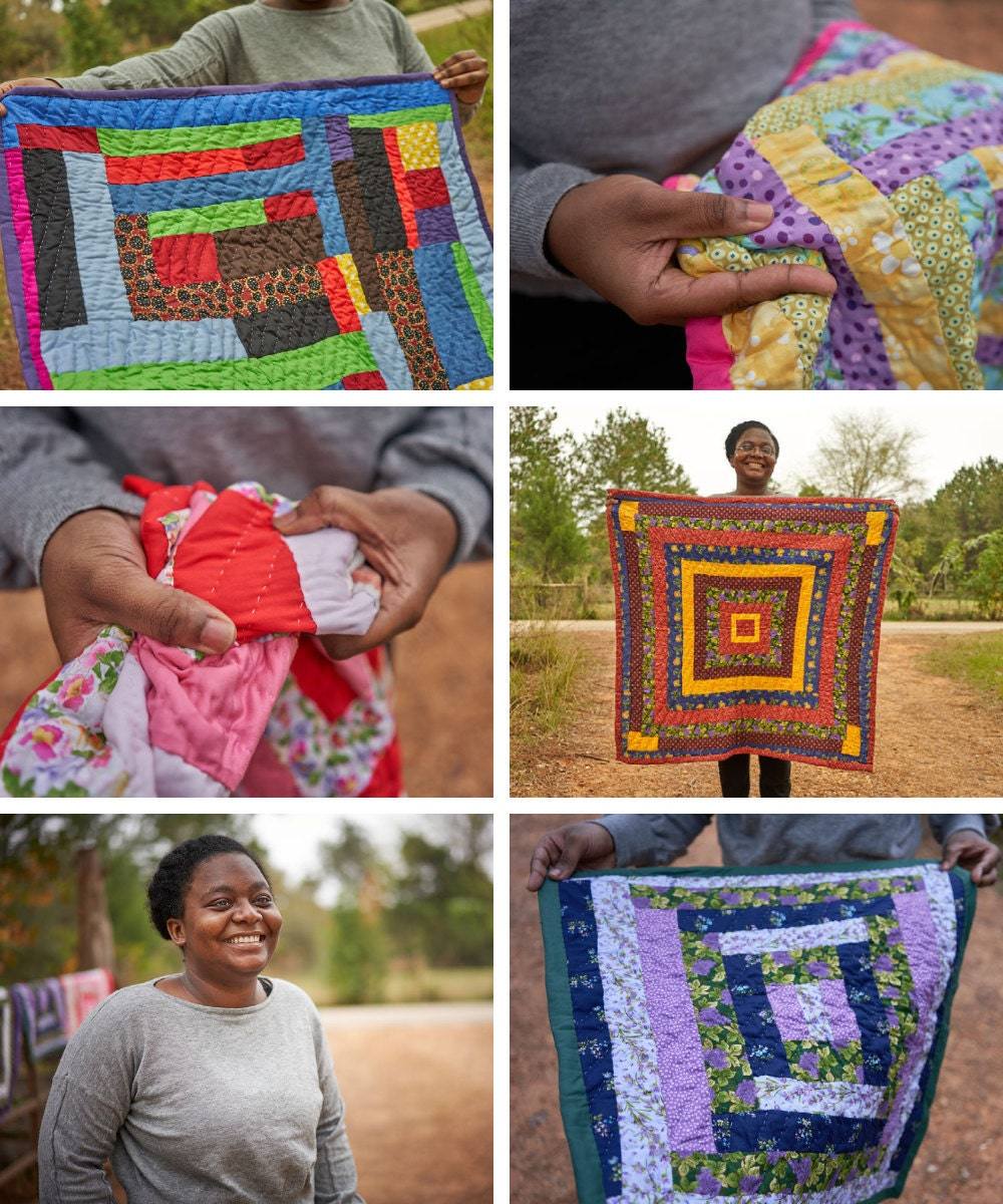 A collage of Gee's Bend quilter Kristin Pettway and her quilts.