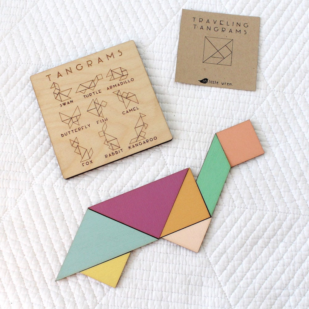 A pocket-sized tangram puzzle from Oh Little Wren
