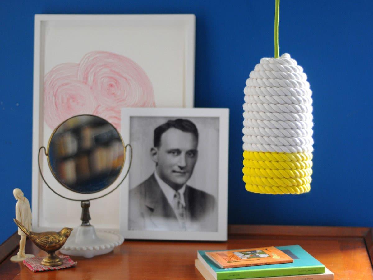 DIY nautical rope pendant lamp