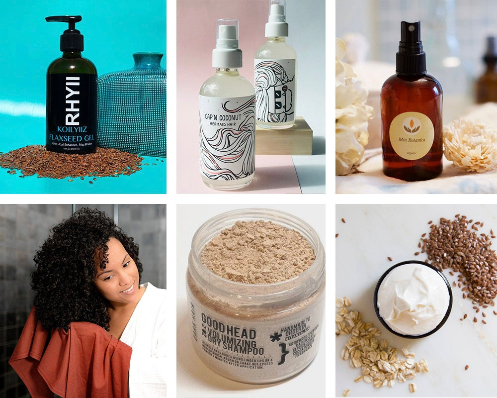 A collage of at-home hair care finds from Etsy