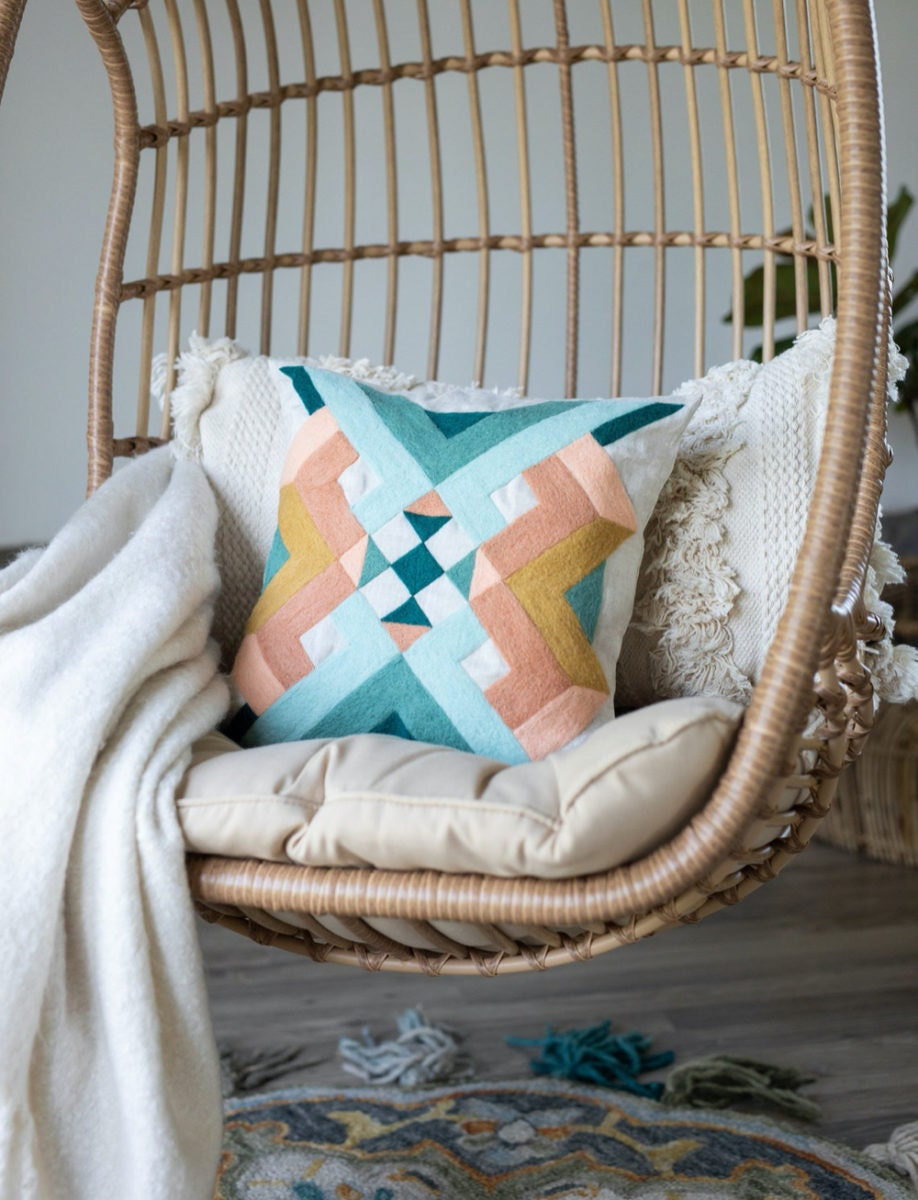 Southwest geometry needle felted pillow kit from Felted Sky
