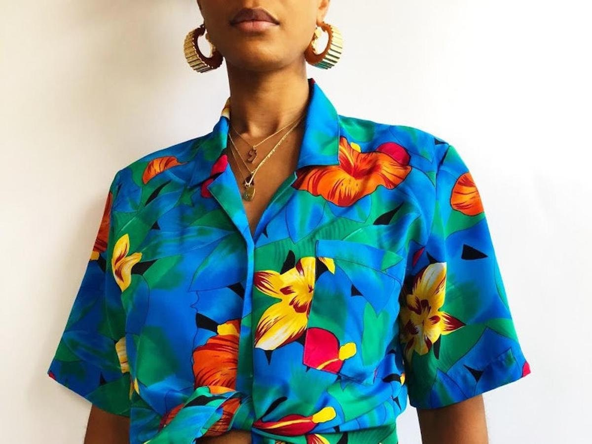 A vintage tropical-print blouse from Threads of Habit