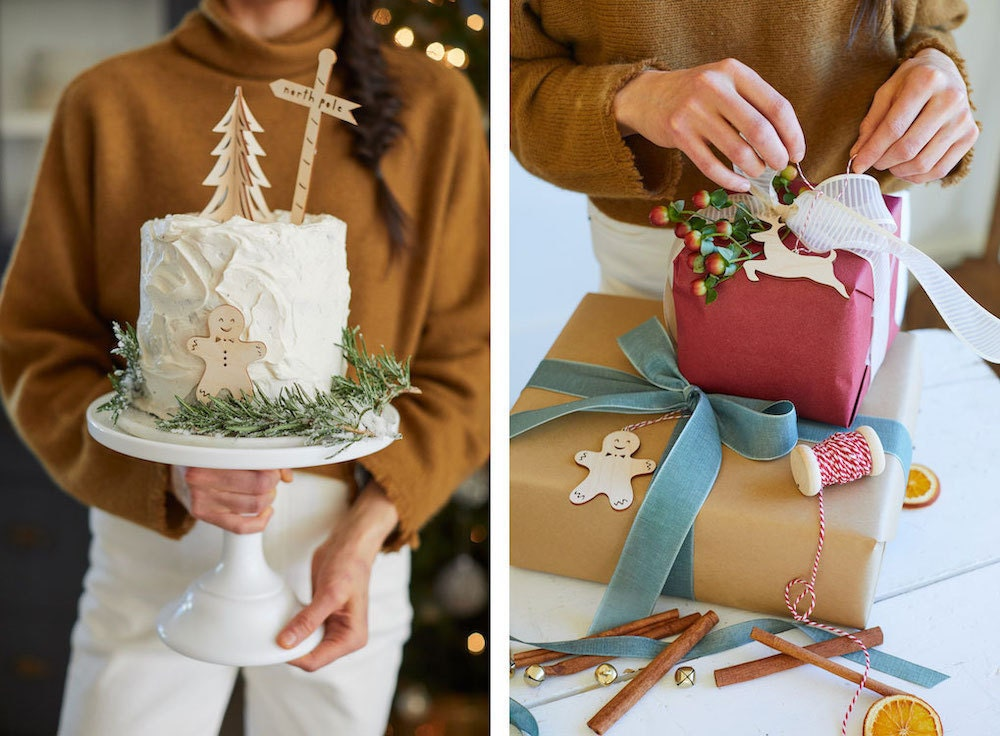 Birch wood cake topper and ornament set from Light & Paper