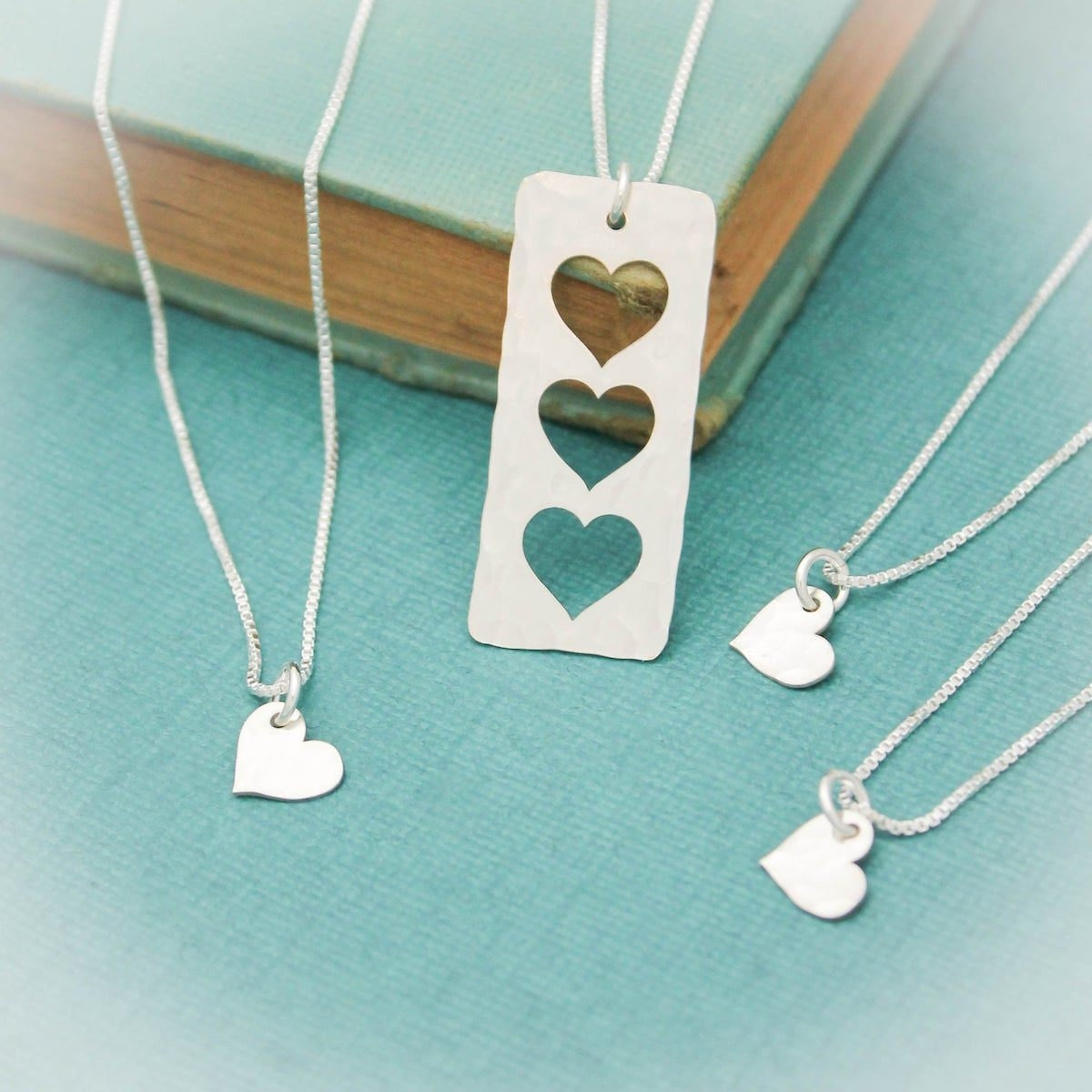 Silver cut-out heart necklace set from Tracy Tayan Designs