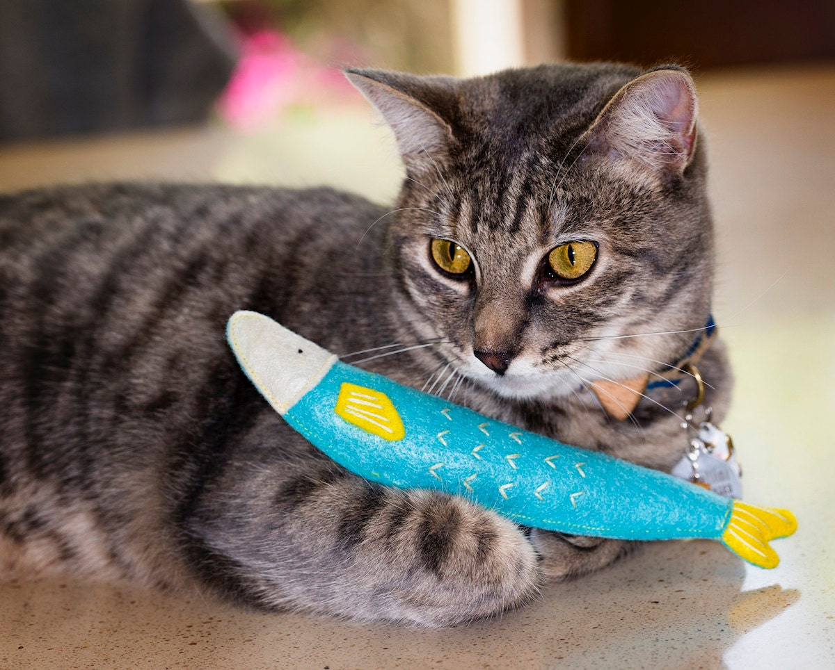 Catnip-stuffed sardine toy from Mini Tiger Design