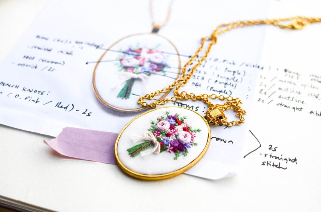 Embroidered bouquet pendant necklace from Thursday Craft Love
