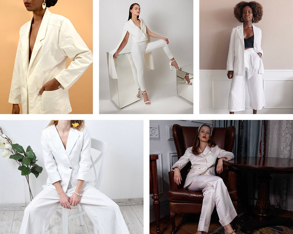 A collage of bridal pantsuits available on Etsy