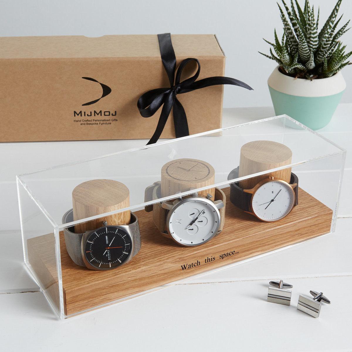 Personalized watch box with acrylic cover from MijMoj