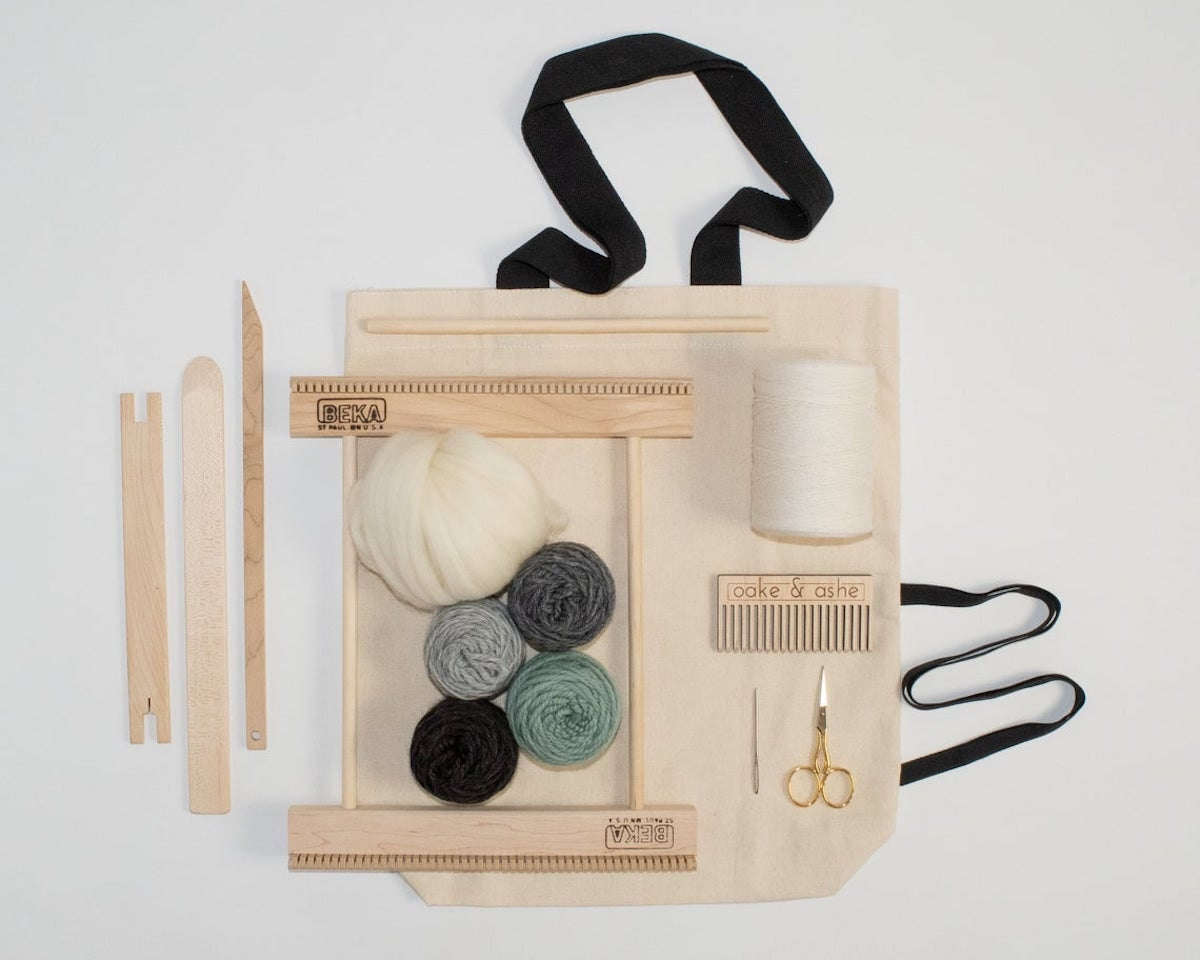 """A 10"""" frame loom weaving kit from Oake and Ashe."""