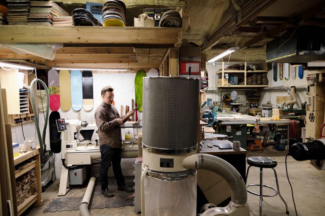 Martinus in the AdrianMartinus workshop in Calgary, Canada