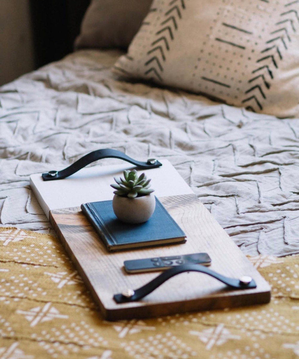 Wide two-tone serving tray table from TheCraftySwirl, $45