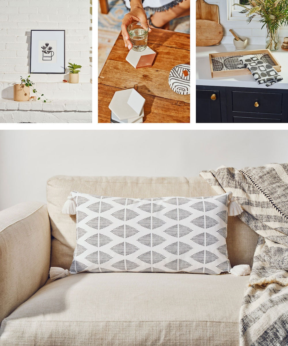 Illustrated prints, geometric coasters, printed tray and tea towel, and patterned bolster pillow from the Tia Mowry x Etsy collection.