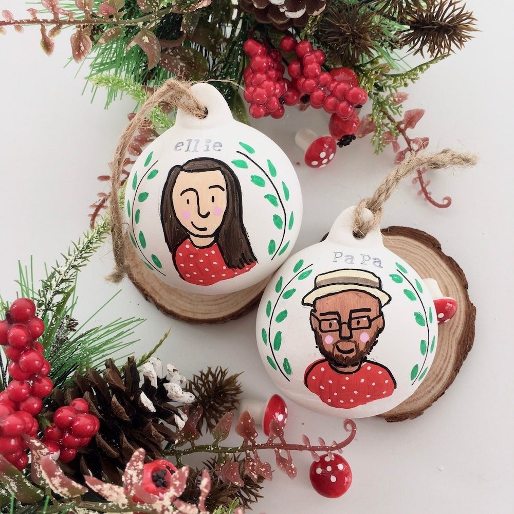 Personalized portrait bauble ornaments from Gemma Eve Illustrator on Etsy