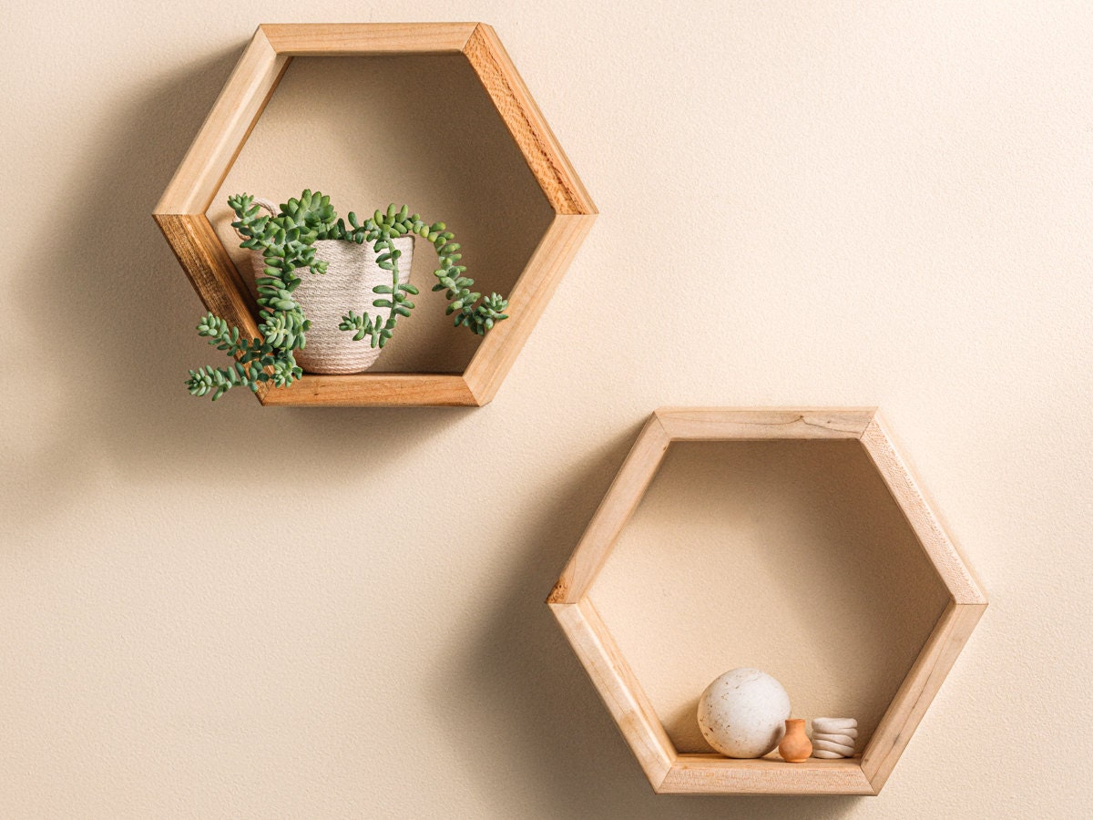 Two hexagon hanging shelves from Crafted Glory