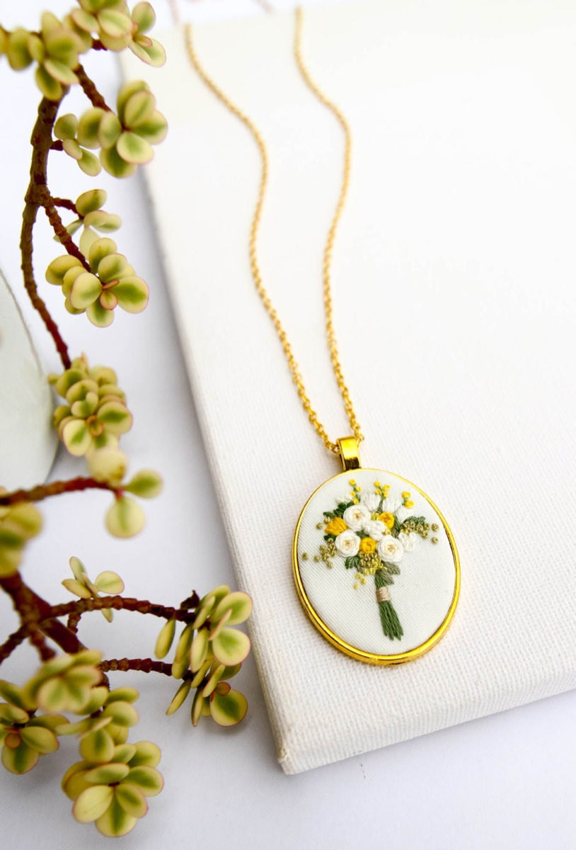 Yellow bouquet embroidered pendant necklace from Thursday Craft Love