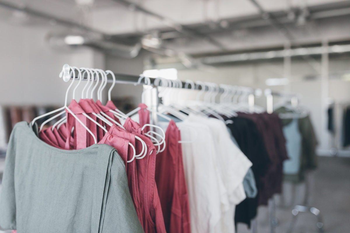 A rack of clothes in the Linenfox studio