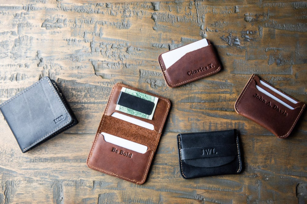 Personalized leather wallets from Holtz Leather Co.
