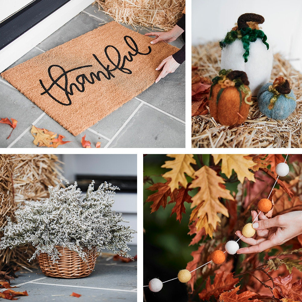 A collage of fall porch decor items from Etsy