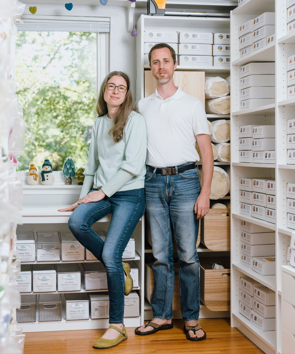 Elizabeth Whitton and her husband in their Michigan-based studio.