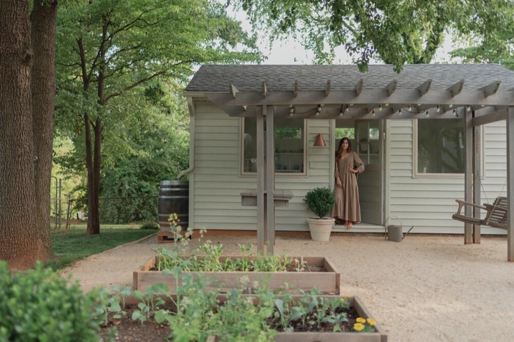 An exterior shot of Mara's 600 sf tiny house in Charlottesville, VA.