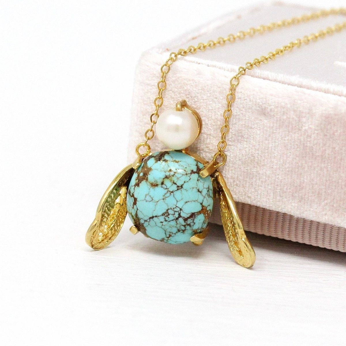 Vintage turquoise bug necklace from Maejean Vintage