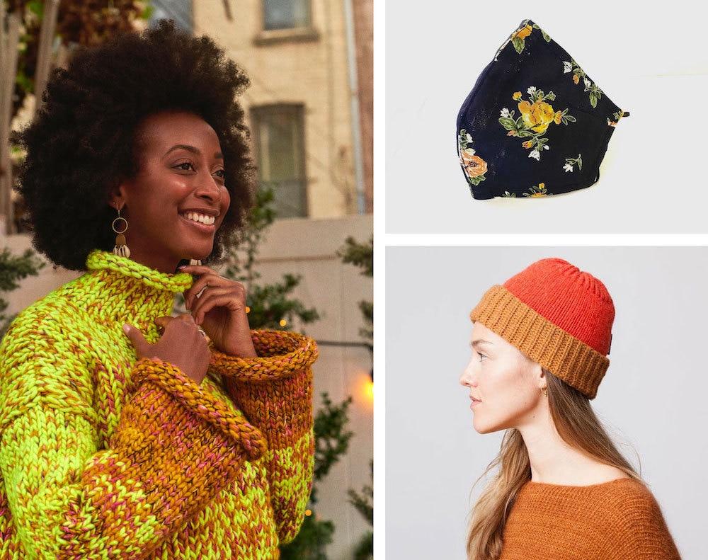 Chunky sweaters, cute beanies, and seasonal printed masks to keep you warm