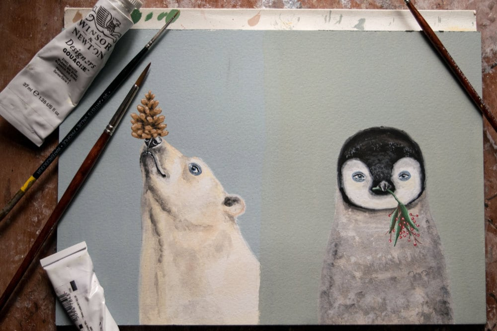 Animal holiday cards in progress