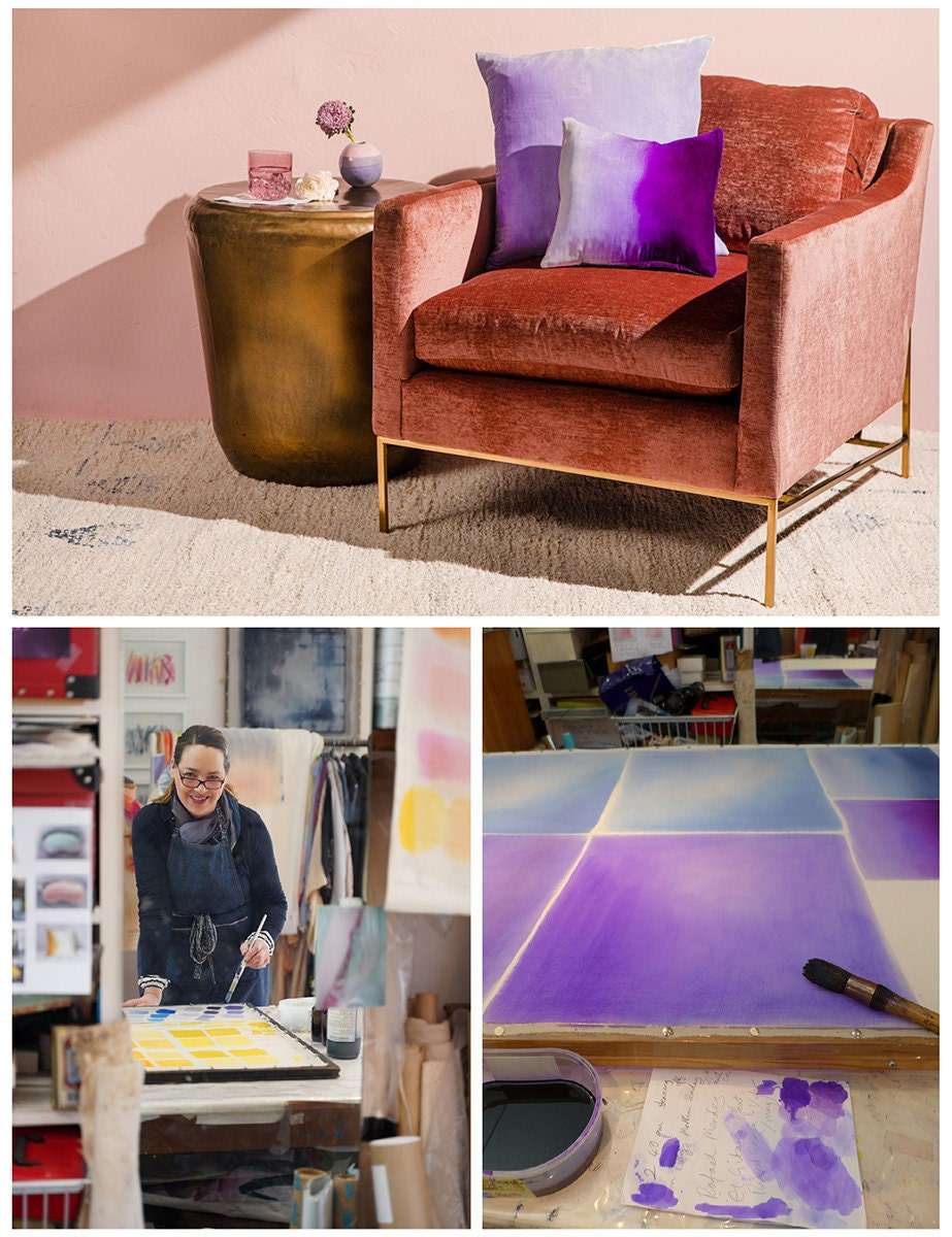 A collage of three images. From top: a pink velvet chair with two hand-painted pillows; a photo of the pillows being painted; a photo of the maker.