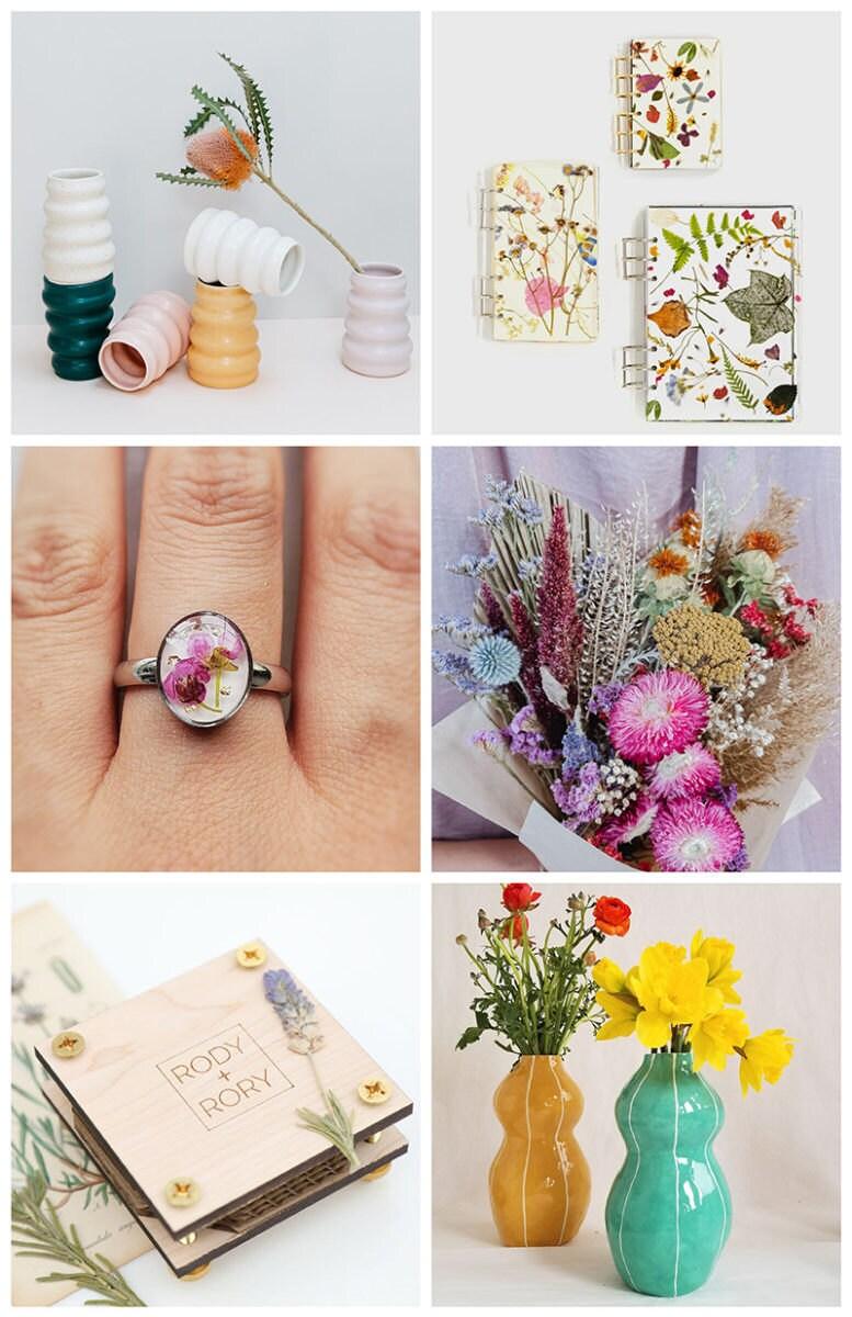 An assortment of flower power items