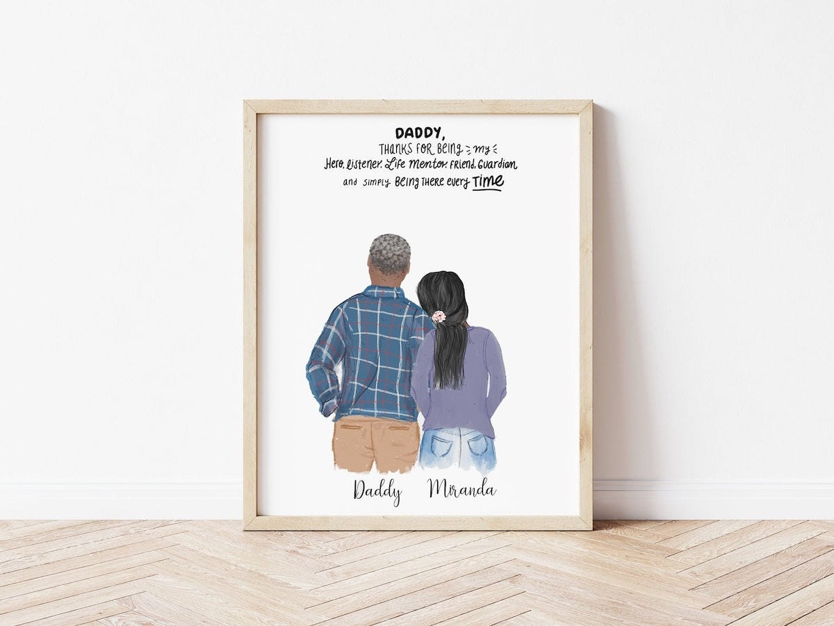 Custom illustrated portrait from Catia Creative, and other personalized Father's Day gifts from Etsy