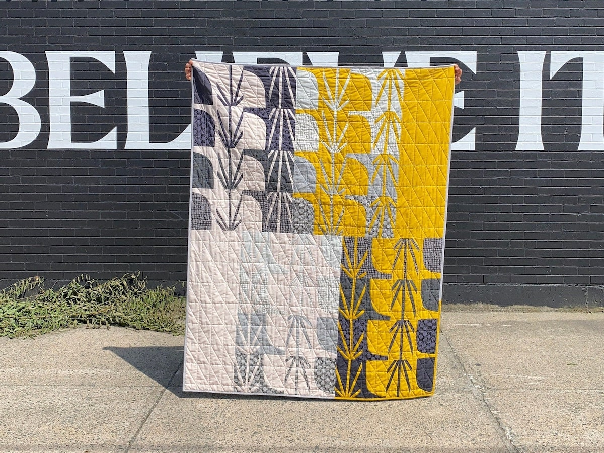 Block-printed quilt kit from Etsy