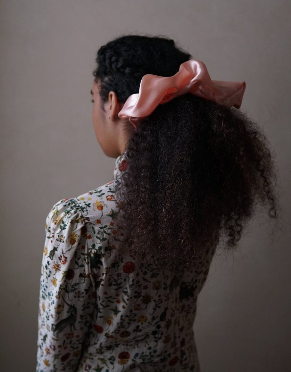 Rose-colored satin scrunchie from A Few Decades Away