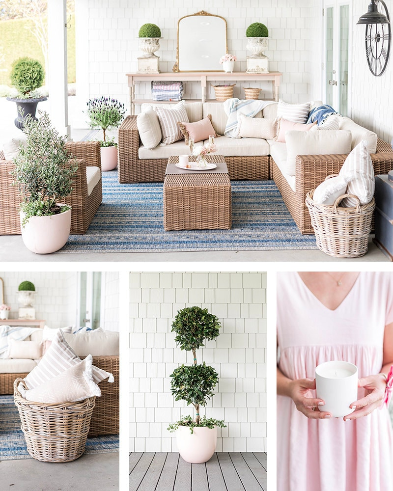 Jillian's backyard patio, styled with pillows, planters and more from her collection.