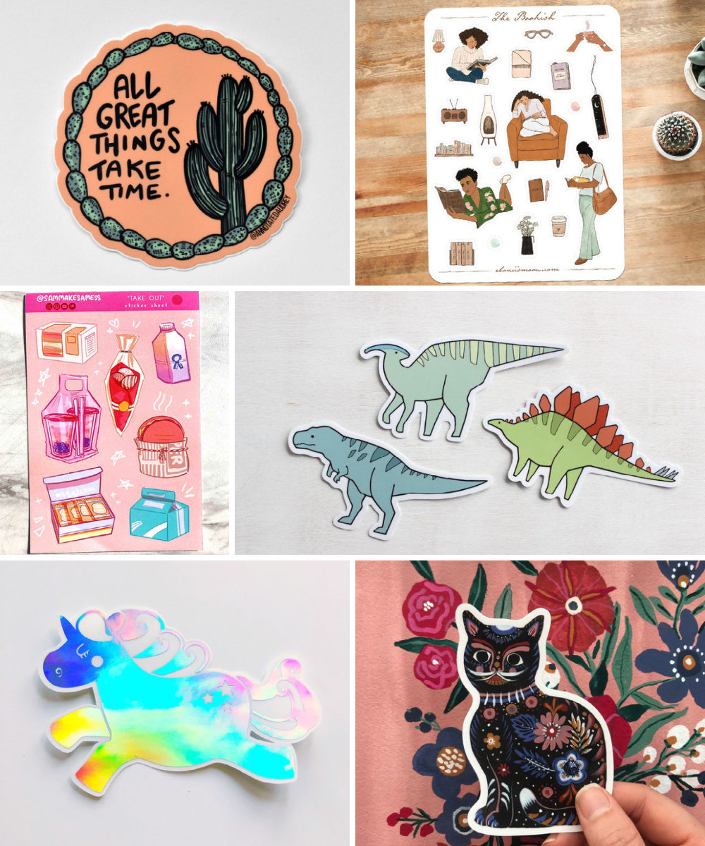 Stickers and other back-to-school supplies from Etsy