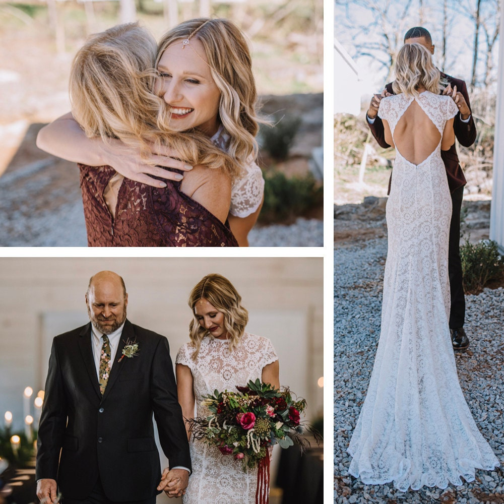 A collage of photos showing Emily hugging her mother, walking down the aisle with her father, and embracing Terrell during their first look
