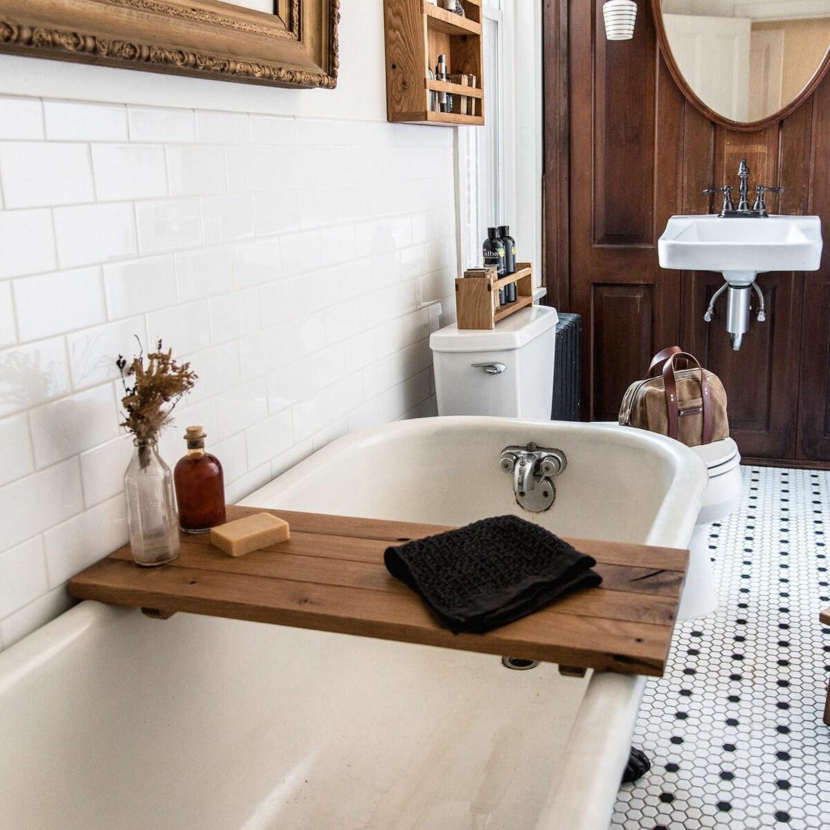 Wood bath caddy from Etsy
