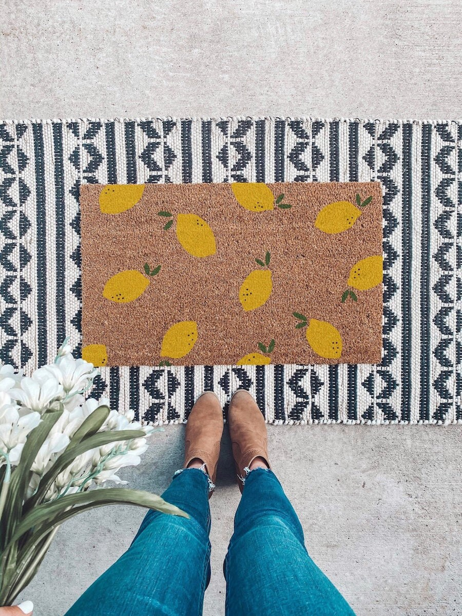 Lemon doormat from Interior Niche, on sale for summer at Etsy