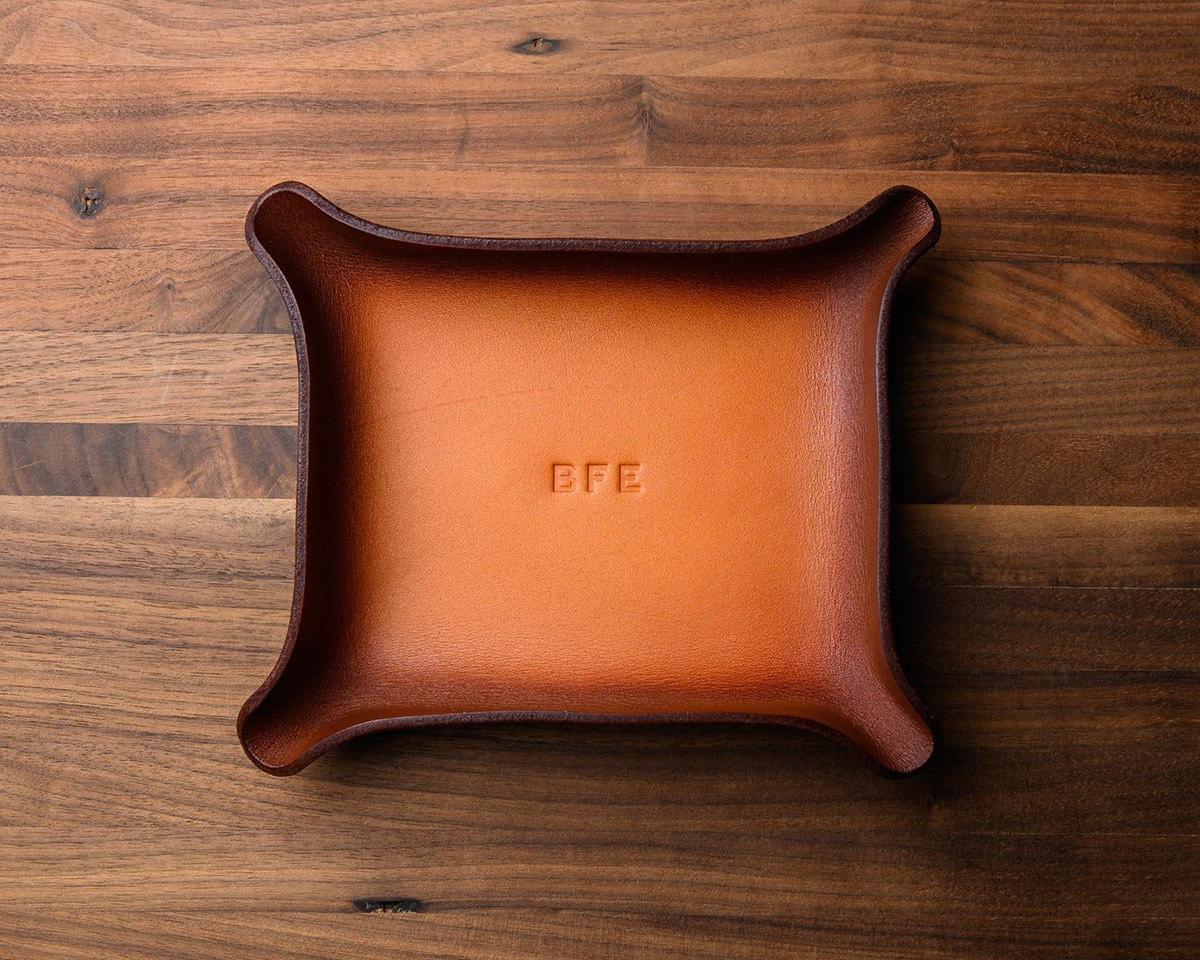 Personalized leather catchall groomsmen gift from Karl Von Artistry, on Etsy
