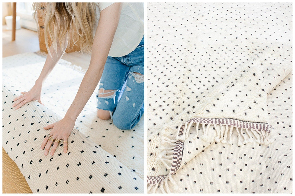 A collage of two images: At left, Sarah rolls out a white rug with tiny black spots; at right, a close-up of the rug's soft texture and fringed ends.