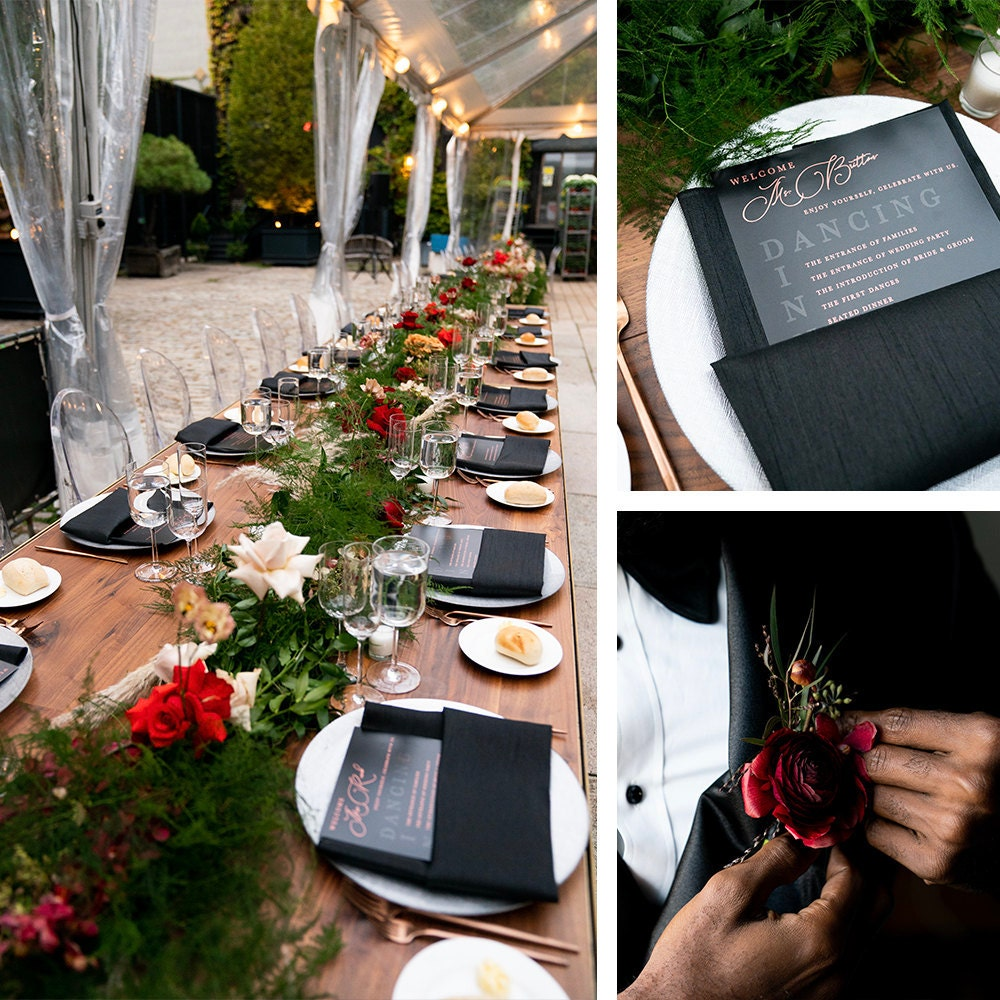 A collage of decorative reception items and florals from Addy and Joel's wedding.