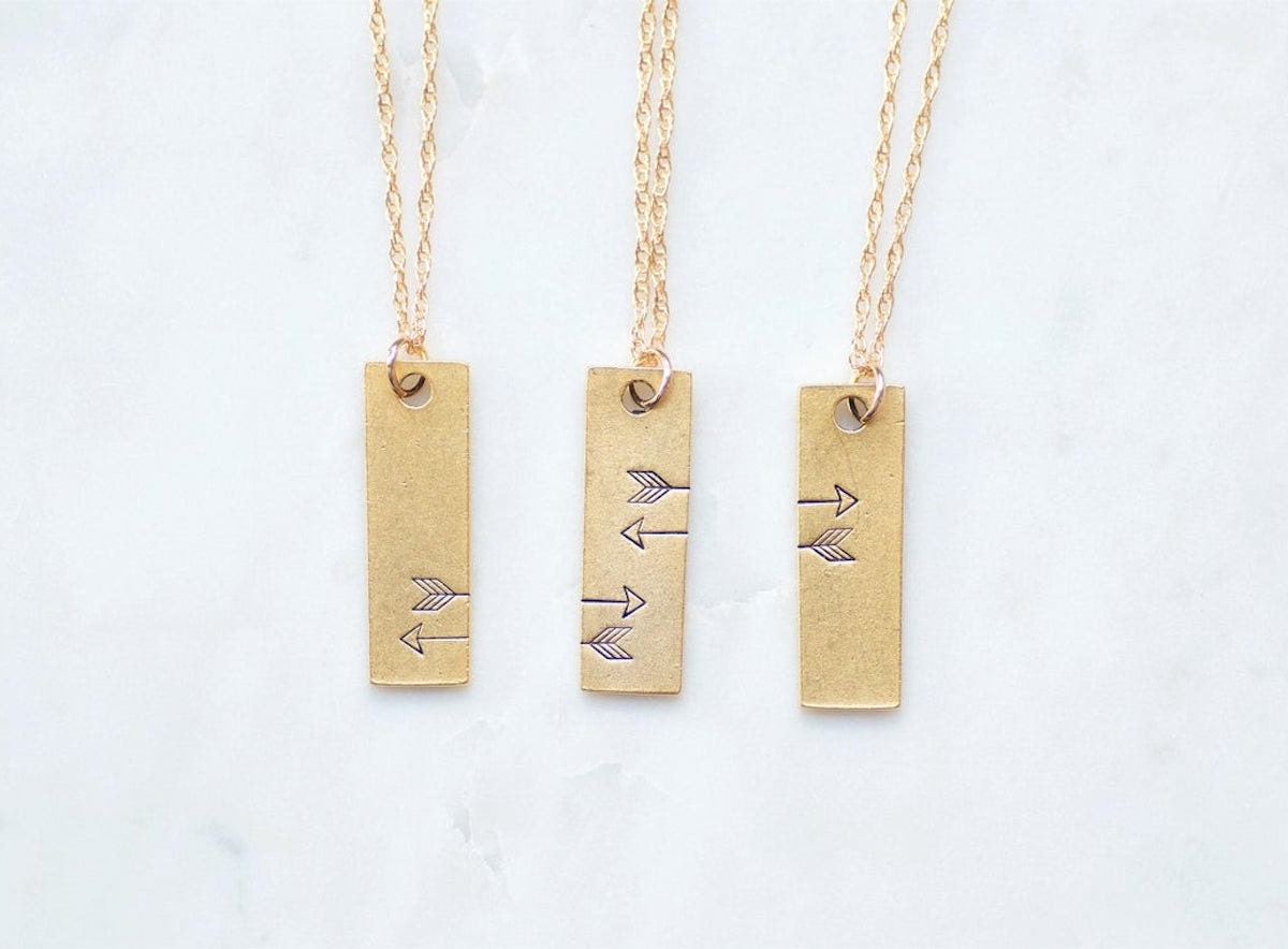Three-way friendship necklaces from Olive Bella on Etsy