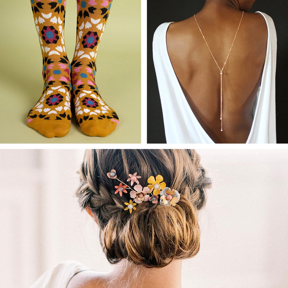 A collage of wedding accessories from Etsy, including men's socks and women's jewelry and hairpieces