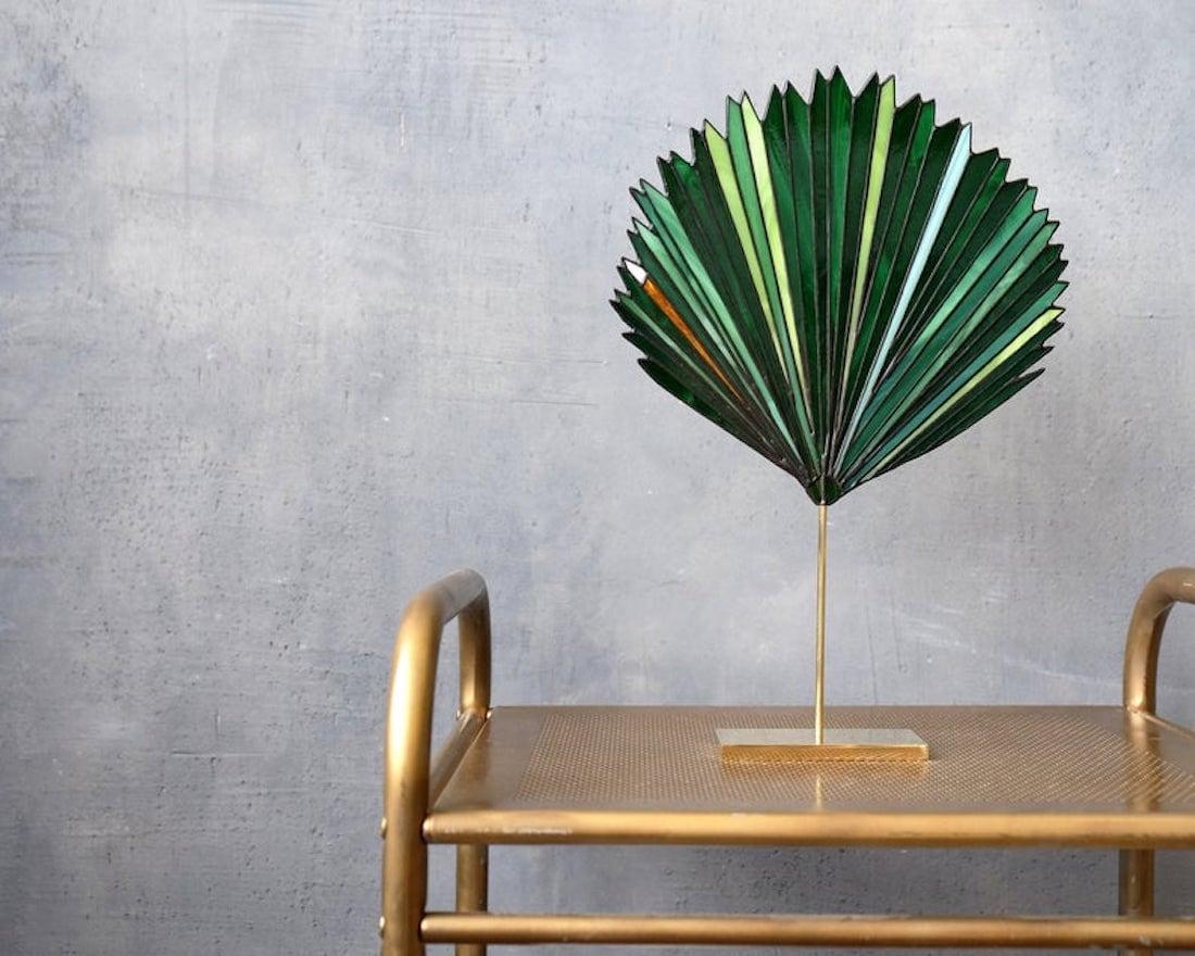 Stained-glass palm leaf suncatcher from Elena Zaycman