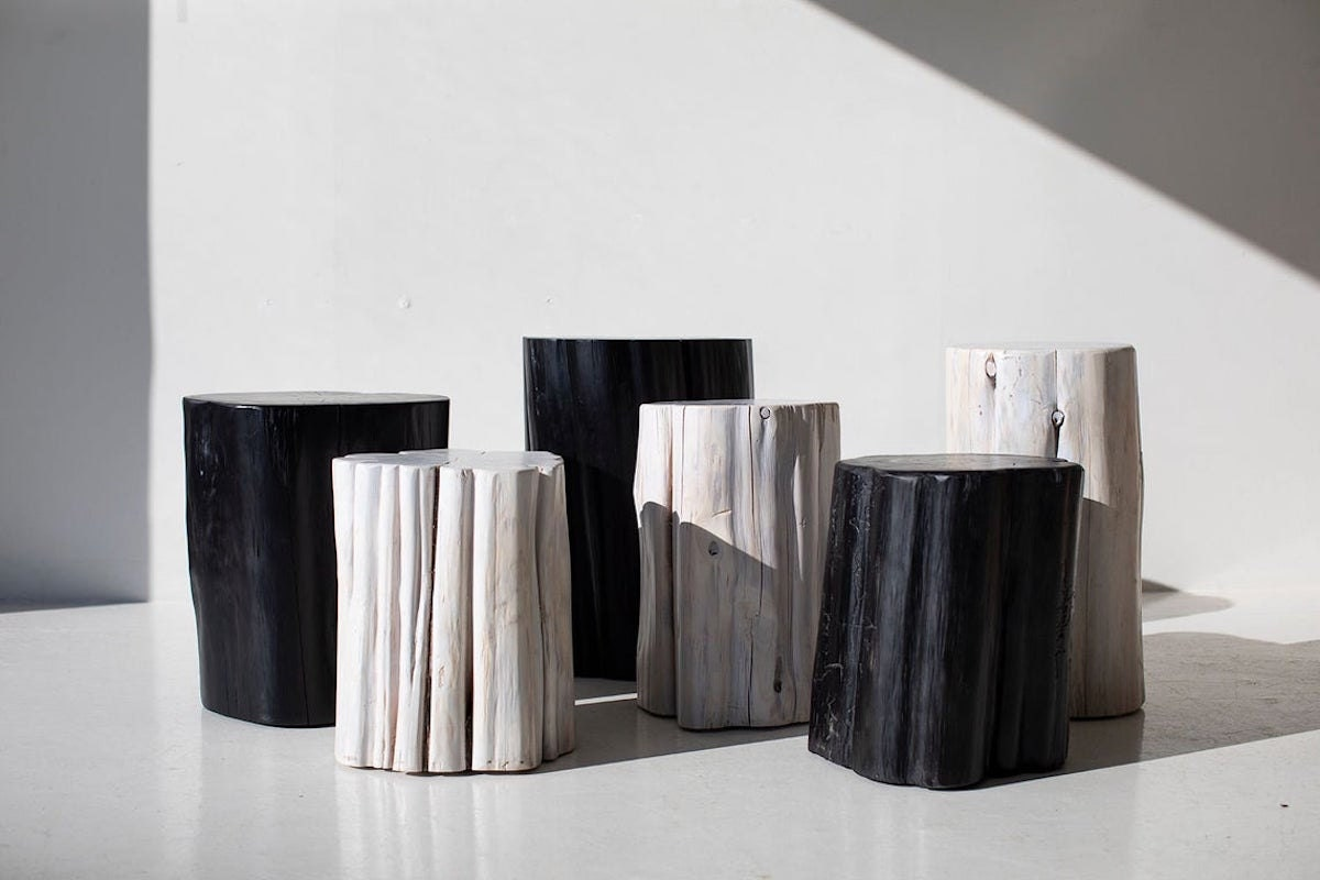 Outdoor stump tables from Bertu Home