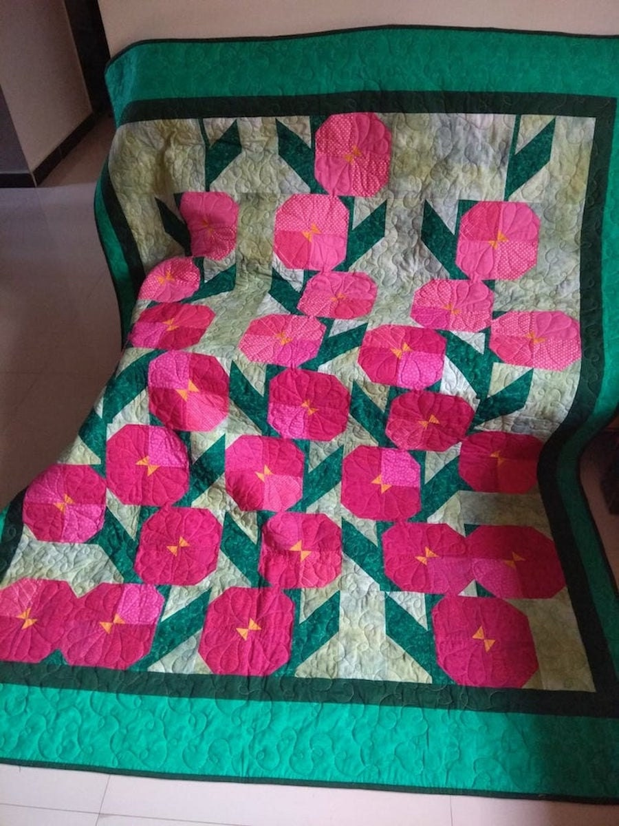 A floral quilt pattern from Etsy