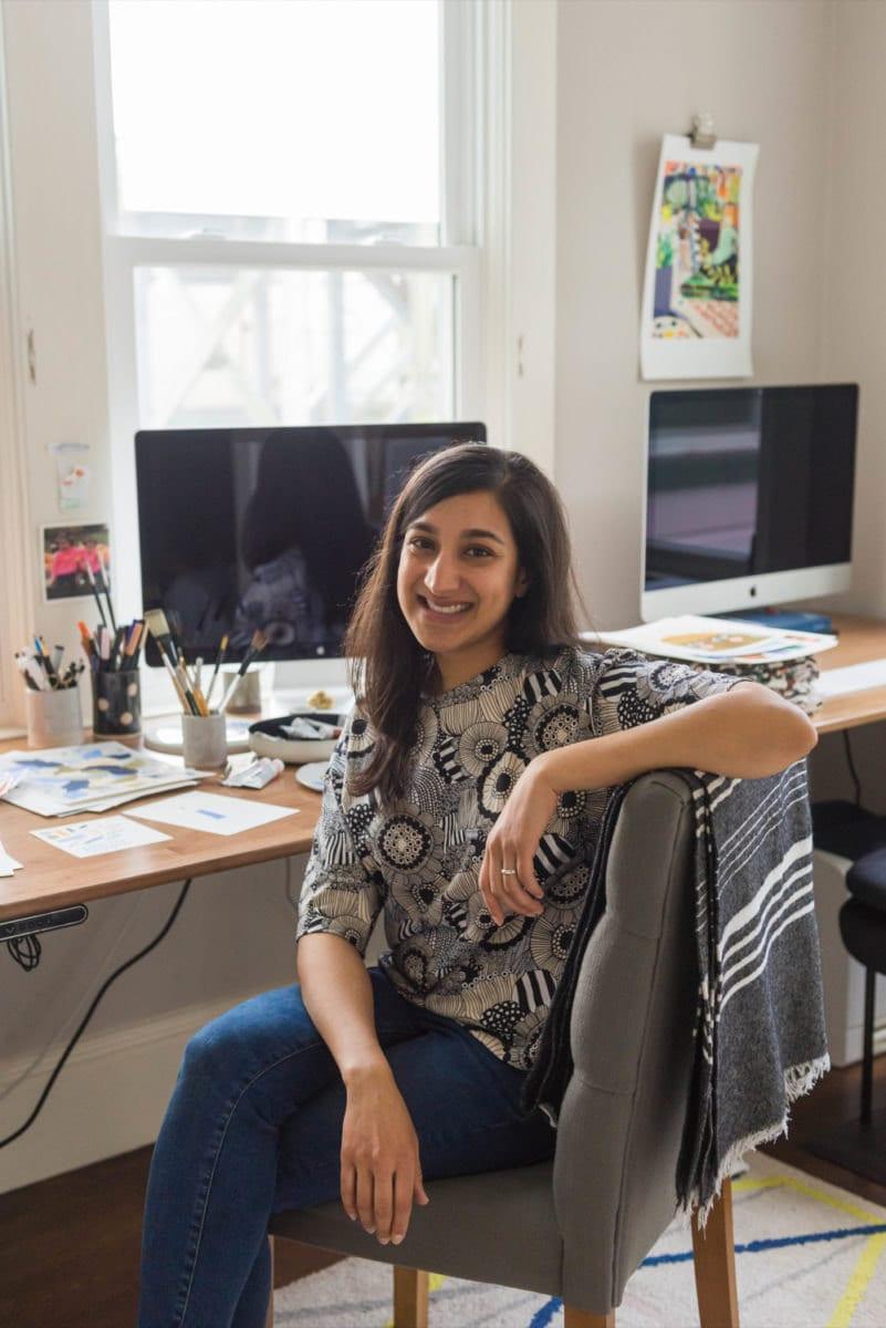 Portrait of illustrator and writer Meenal Patel in her San Francisco studio