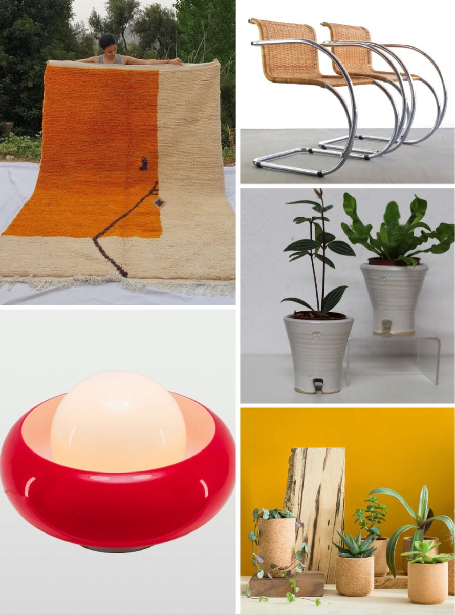 A collage of more of HAIM's favorite vintage and retro-inspired decor from Etsy.