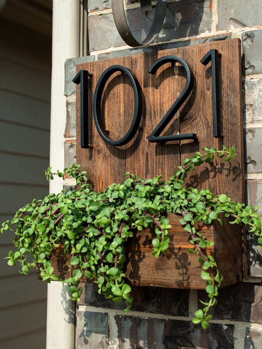 House number planter box from Kind Designs, on sale for summer at Etsy