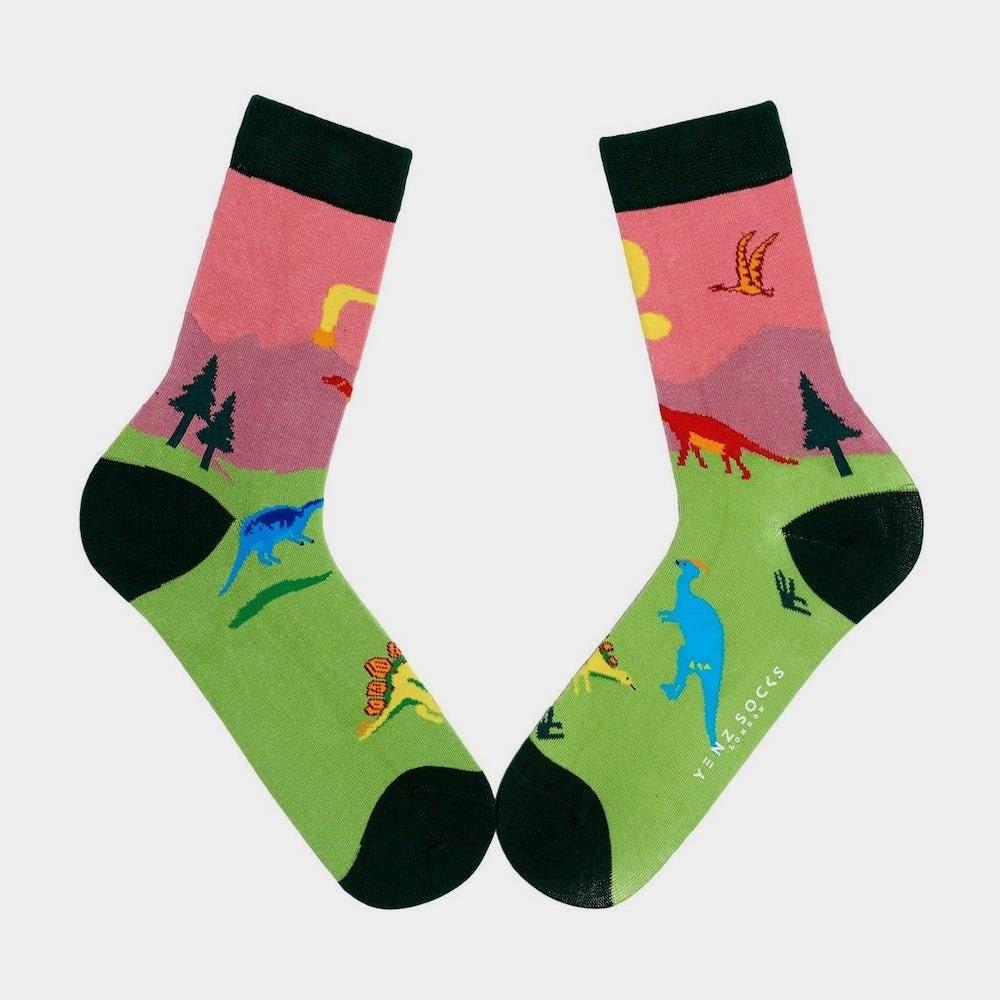 A pair of dinosaur socks from Yenz